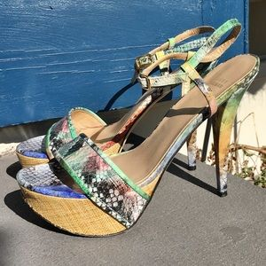 Stuart Weitzman Colorful Snakeskin Platform Heels